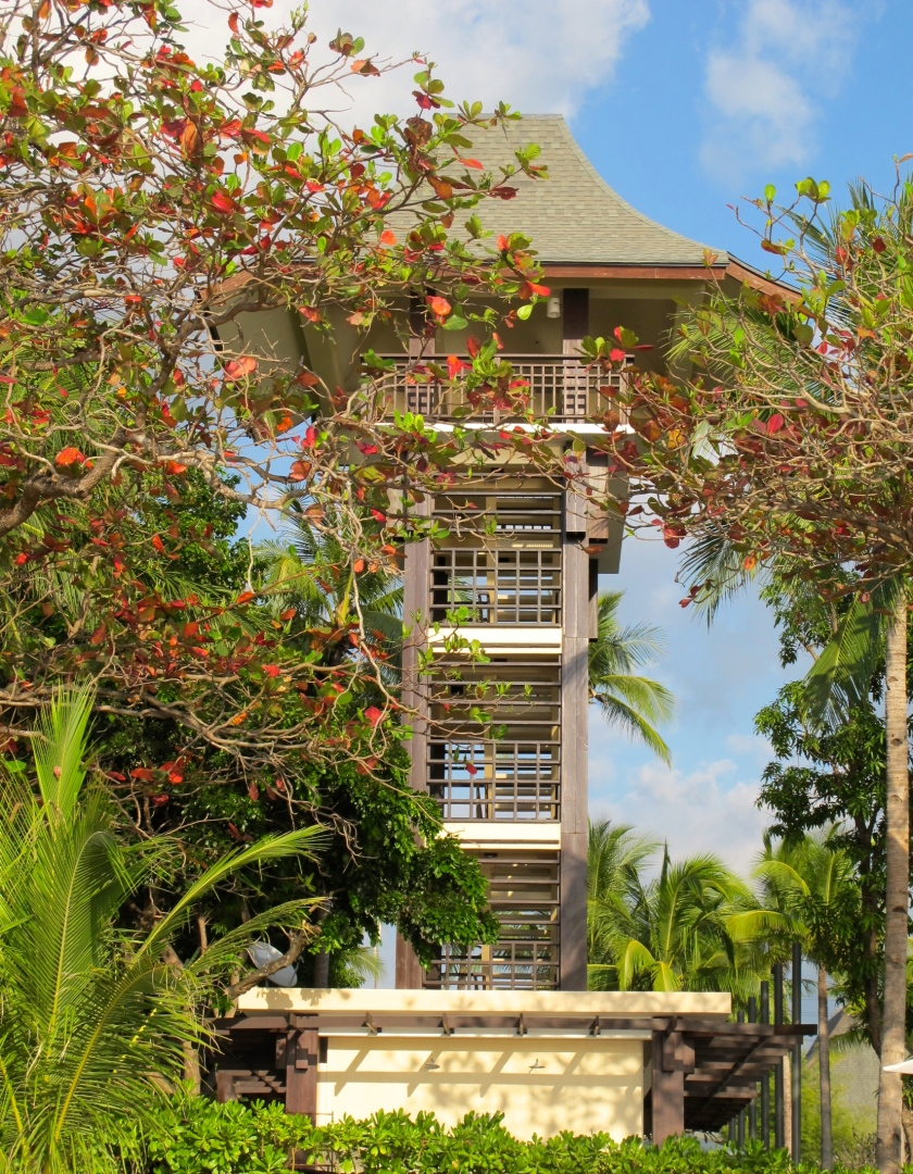 A watch tower is erected to allow people to view the whole property from an elevated point.